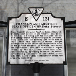 Historic Plaque at 1315 Duke Street for the Slave Office located there